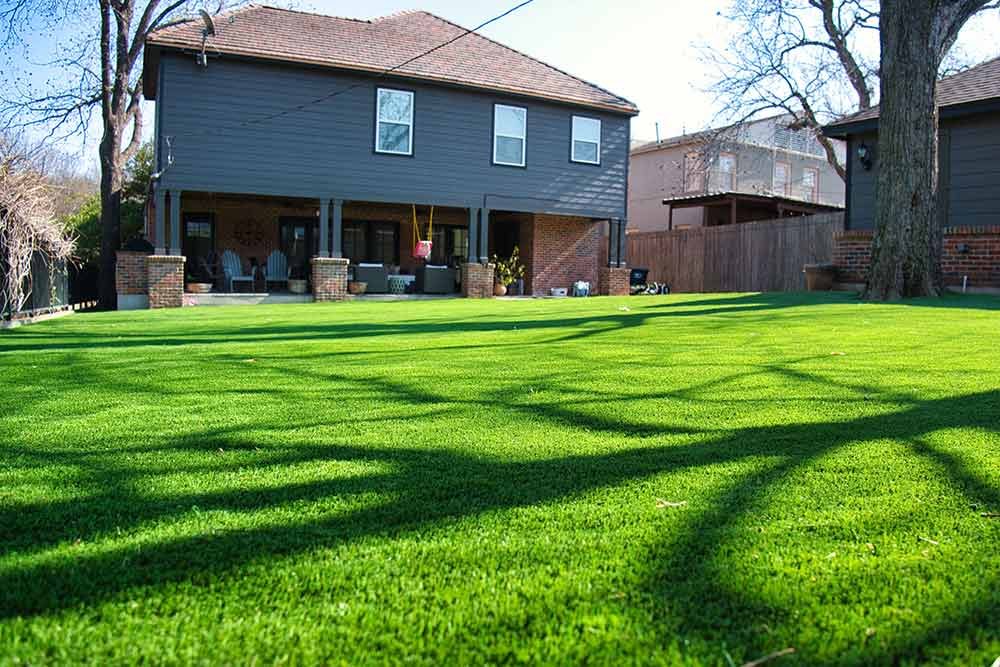 Artificial turf for a backyard at a Fort Worth home