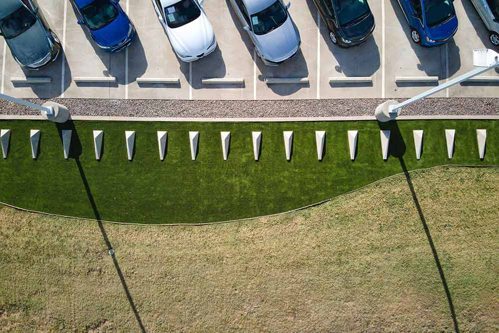 Artificial turf install at a Fort Worth Car Dealership