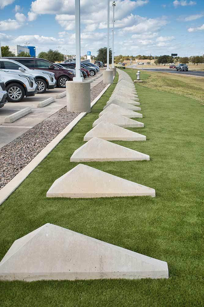Synthetic Grass install at a Fort Worth Car Dealership
