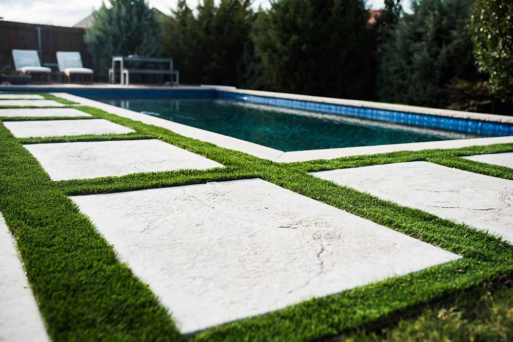 Synthetic Grass for a pool surround at a Fort Worth home